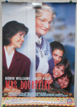 Mrs Doubtfire, Commercial Film Poster, Robin Williams, Sally Field, '93 vg-f